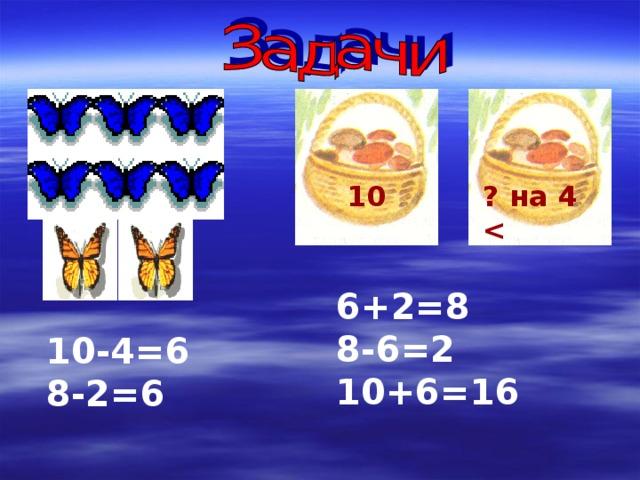 10 ? на 4  6+2=8 8-6=2 10+6=16 10-4=6 8-2=6