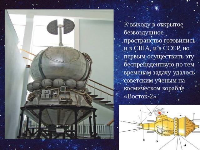 К выходу в открытое безвоздушное пространство готовились и в США, и в СССР, но первым осуществить эту беспрецедентную по тем временам задачу удалось советским ученым на космическом корабле «Восток-2»