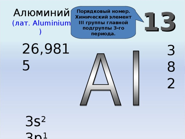 13 Алюминий  (лат. Aluminium )  Порядковый номер. Химический элемент III группы главной подгруппы 3-го периода. 26,9815 3 8 2 3 s 2 3p 1
