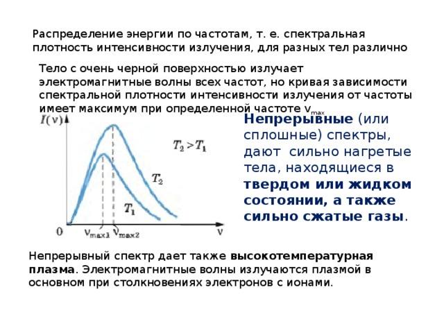 Распределение энергии по частотам, т. е. спектральная плотность интенсивности излучения, для разных тел различно Тело с очень черной поверхностью излучает электромагнитные волны всех частот, но кривая зависимости спектральной плотности интенсивности излучения от частоты имеет максимум при определенной частоте v max Непрерывные (или сплошные) спектры, дают сильно нагретые тела, находящиеся в твердом или жидком состоянии, а также сильно сжатые газы . Непрерывный спектр дает также высокотемпературная плазма . Электромагнитные волны излучаются плазмой в основном при столкновениях электронов с ионами.