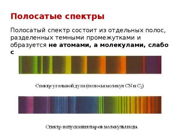 Полосатые спектры Полосатый спектр состоит из отдельных полос, разделенных темными промежутками и образуется не атомами, а молекулами, слабо связанными друг с другом.