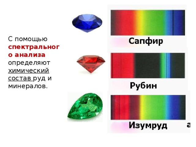 С помощью спектрального анализа определяют химический состав руд и минералов.