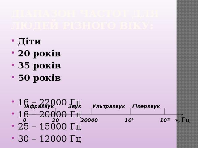 Діапазон частот для людей різного віку: Діти 20 років 35 років 50 років 16 – 22000 Гц 16 – 20000 Гц 25 – 15000 Гц 30 – 12000 Гц Інфразвук Звук Ультразвук Гіперзвук ν, Гц 10 13 20000 20 0 10 9