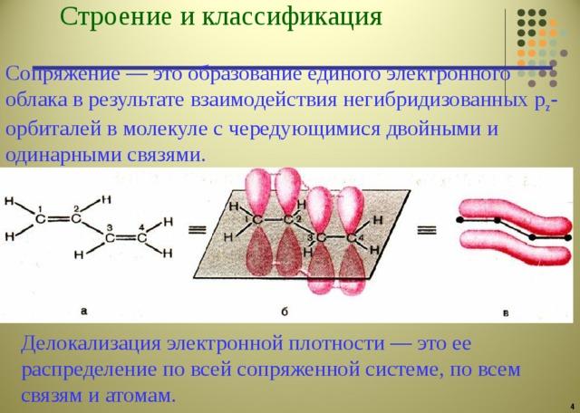 Строение и классификация  Сопряжение — это образование единого электронного облака в результате взаимодействия негибридизованных p z -орбиталей в молекуле с чередующимися двойными и одинарными связями. Делокализация электронной плотности — это ее распределение по всей сопряженной системе, по всем связям и атомам.