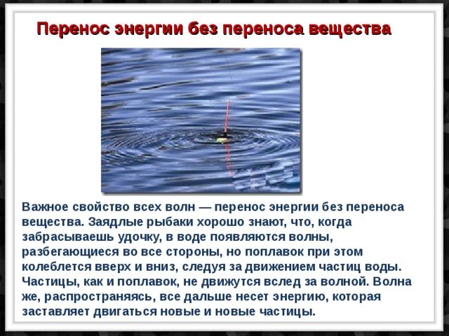 Перенос энергии без переноса вещества Важное свойство всех волн — перенос энергии без переноса вещества. Заядлые рыбаки хорошо знают, что, когда забрасываешь удочку, в воде появляются волны, разбегающиеся во все стороны, но поплавок при этом колеблется вверх и вниз, следуя за движением частиц воды. Частицы, как и поплавок, не движутся вслед за волной. Волна же, распространяясь, все дальше несет энергию, которая заставляет двигаться новые и новые частицы.