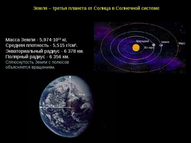 Земля–третьяпланетаотСолнцавСолнечнойсистеме МассаЗемли-5,974∙10 24 кг, Средняяплотность- 5,515 г/см 3 . Экваториальныйрадиус- 6 378 км. Полярныйрадиус-  6 356 км. СплюснутостьЗемлисполюсов объясняетсявращением.