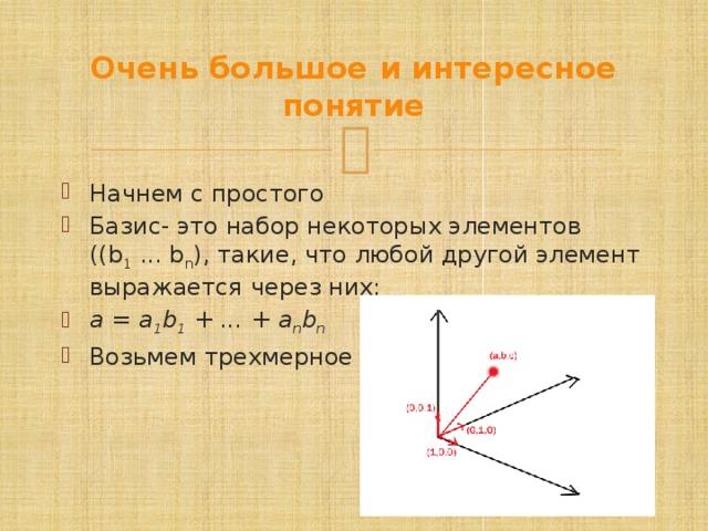 Очень большое и интересное понятие Начнем с простого Базис- это набор некоторых элементов ((b 1 ... b n ), такие, что любой другой элемент выражается через них: a = a 1 b 1 + ... + a n b n  Возьмем трехмерное пространство