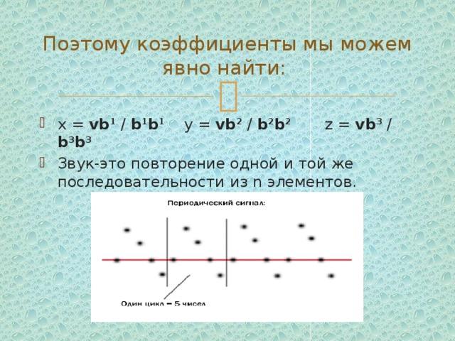 Поэтому коэффициенты мы можем явно найти: x = vb 1 / b 1 b 1 y = vb 2 / b 2 b 2 z = vb 3 / b 3 b 3  Звук-это повторение одной и той же последовательности из n элементов.