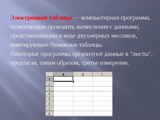 Электронная таблица —компьютерная программа, позволяющая проводить вычисления с данными, представленными в виде двухмерных массивов, имитирующих бумажные таблицы. Некоторые программы организуют данные в