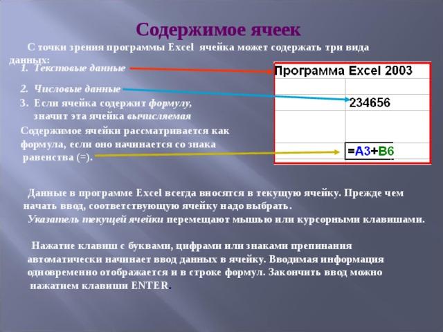 Содержимое ячеек С точки зрения программы Excel ячейка может содержать три вида данных:  1. Текстовые данные  2. Числовые данные  3. Если ячейка содержит формулу,   значит эта ячейка вычисляемая  Содержимое ячейки рассматривается как  формула, если оно начинается со знака  равенства (=). Данные в программе Excel всегда вносятся в текущую ячейку. Прежде чем начать ввод, соответствующую ячейку надо выбрать. Указатель текущей ячейки перемещают мышью или курсорными клавишами. Нажатие клавиш с буквами, цифрами или знаками препинания  автоматически начинает ввод данных в ячейку. Вводимая информация  одновременно отображается и в строке формул. Закончить ввод можно  нажатием клавиши ENTER .