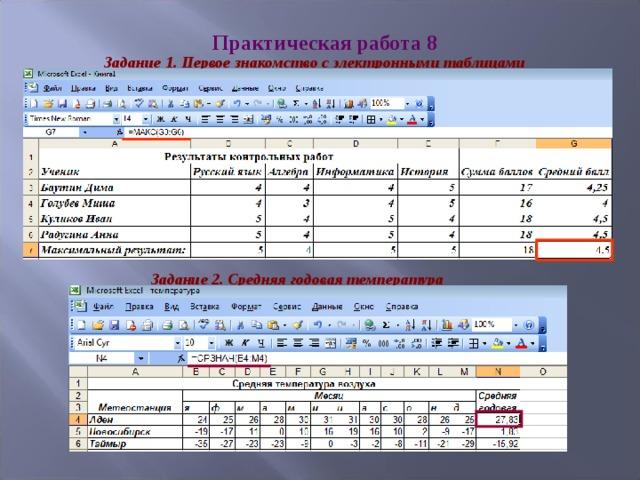 Практическая работа 8 Задание 1. Первое знакомство с электронными таблицами Задание 2. Средняя годовая температура