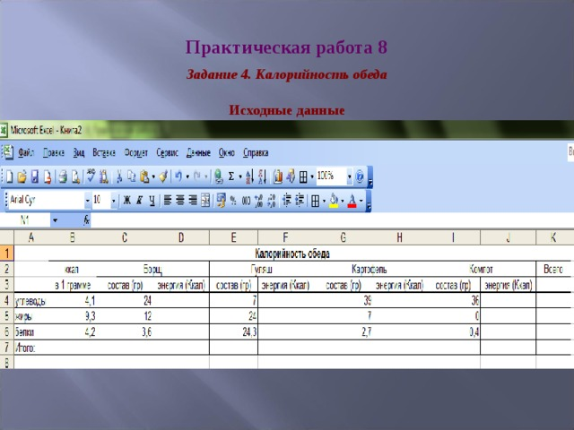 Практическая работа 8 Задание 4. Калорийность обеда Исходные данные
