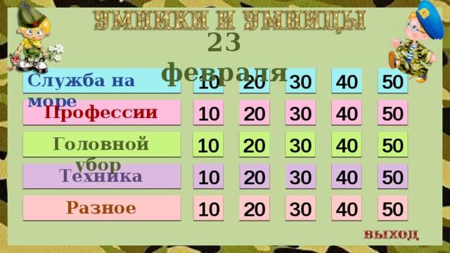 23 февраля Служба на море 10 30 40 50 20 Профессии 40 50 10 20 30 Головной убор 10 20 50 40 30 Техника 40 10 20 50 30 Разное 10 50 40 30 20