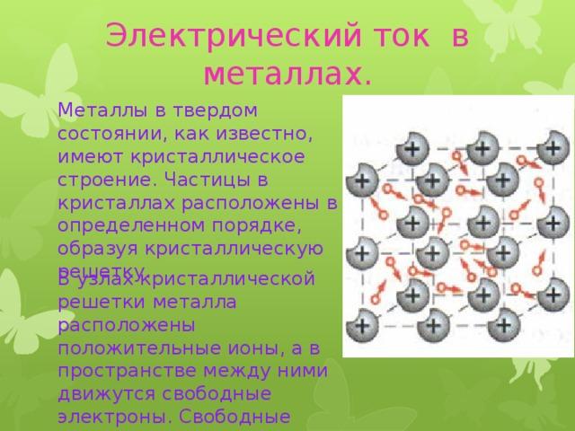 Электрический ток в металлах.   Металлы в твердом состоянии, как известно, имеют кристаллическое строение. Частицы в кристаллах расположены в определенном порядке, образуя кристаллическую решетку. В узлах кристаллической решетки металла расположены положительные ионы, а в пространстве между ними движутся свободные электроны. Свободные электроны в нем движутся беспорядочно