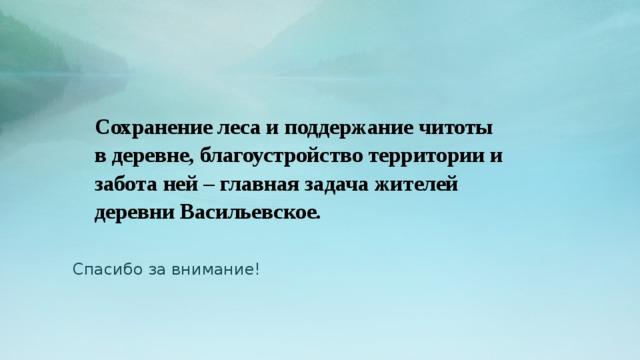 Сохранение леса и поддержание читоты в деревне, благоустройство территории и забота ней – главная задача жителей деревни Васильевское.    Спасибо за внимание!
