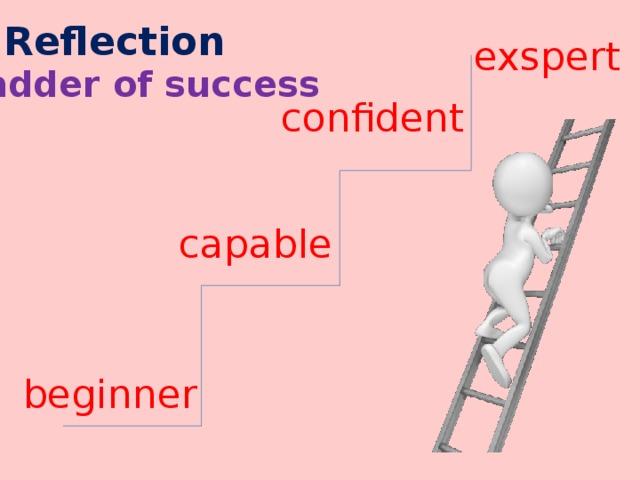 Reflection exspert ladder of success confident capable beginner