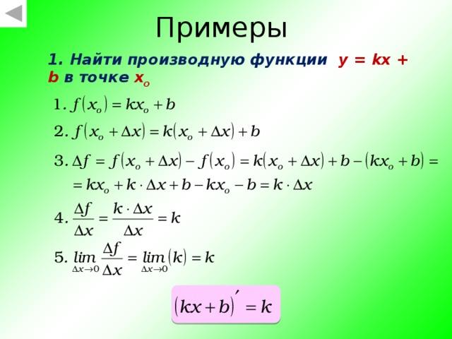 Таким образом, чтобы вычислить приращение функции f(x) при переходе от точки x 0 к точке x = x 0 + Δx , нужно: 1. найти значение функции f(x 0 ); 2. найти значение функции f(x 0 + Δx) 3. найти разность f(x 0 + Δx) – f(x 0 )