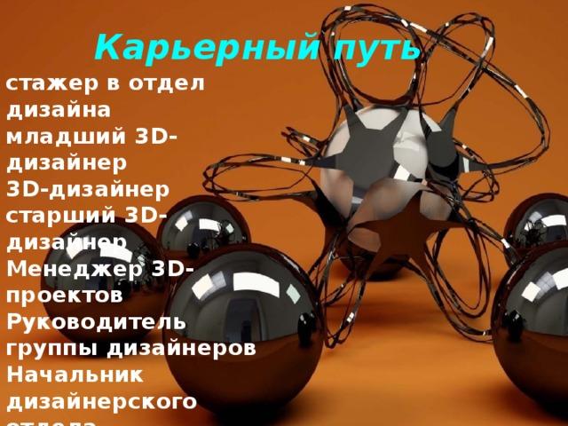 Карьерный путь стажер в отдел дизайна младший 3D-дизайнер 3D-дизайнер старший 3D-дизайнер Менеджер 3D-проектов Руководитель группы дизайнеров Начальник дизайнерского отдела Руководитель управления 3D-дизайна Директор по 3D-дизайну