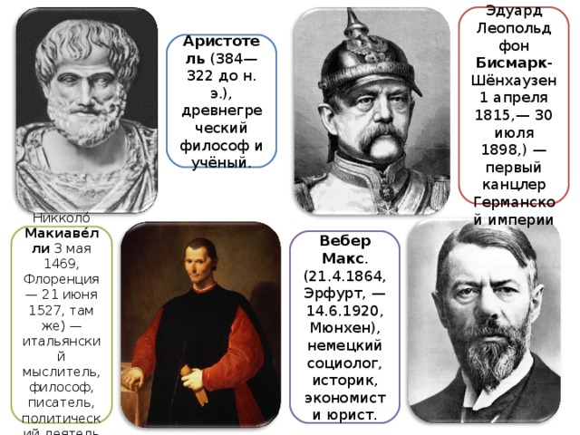 Отто Эдуард Леопольд фон Бисмарк -Шёнхаузен 1 апреля 1815,— 30 июля 1898,) — первый канцлер Германской империи Аристотель (384—322 до н. э.), древнегреческий философ и учёный. Никколо́ Макиаве́лли 3 мая 1469, Флоренция — 21 июня 1527, там же) — итальянский мыслитель, философ, писатель, политический деятель Вебер  Макс . (21.4.1864, Эрфурт, — 14.6.1920, Мюнхен), немецкий социолог, историк, экономист и юрист.