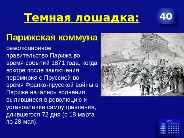Темная лошадка: 40 Парижская коммуна революционное правительствоПарижаво время событий 1871 года, когда вскоре после заключения перемирия сПруссиейво времяФранко-прусской войны в Париже начались волнения, вылившиеся в революцию и установление самоуправления, длившегося 72 дня (с 18 марта по 28 мая).