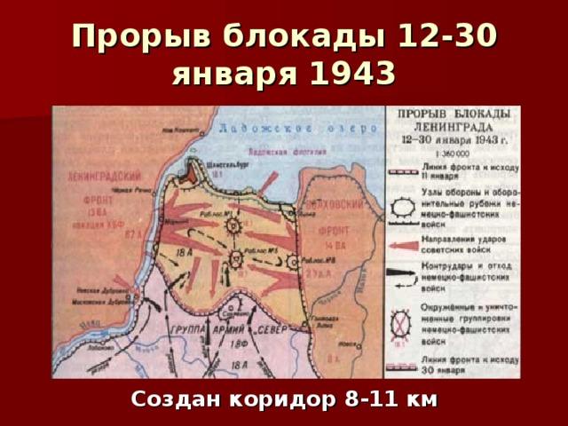 Прорыв блокады 12-30 января 1943 Создан коридор 8-11 км