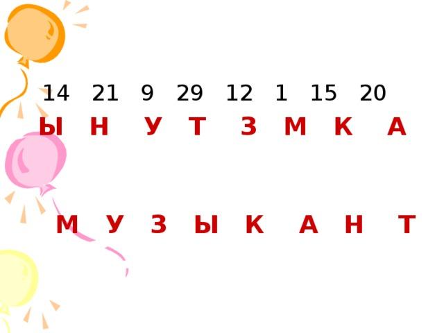 14 21 9 29 12 1 15 20  Ы Н У Т З М К А  М У З Ы К А Н Т