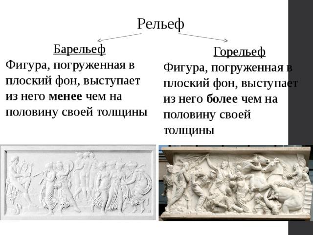 Рельеф Барельеф Фигура, погруженная в плоский фон, выступает из него менее чем на половину своей толщины Горельеф Фигура, погруженная в плоский фон, выступает из него более чем на половину своей толщины