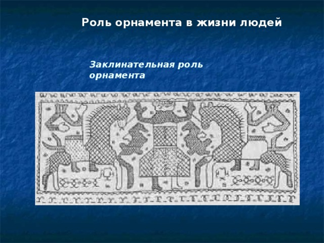 Роль орнамента в жизни людей Заклинательная роль орнамента