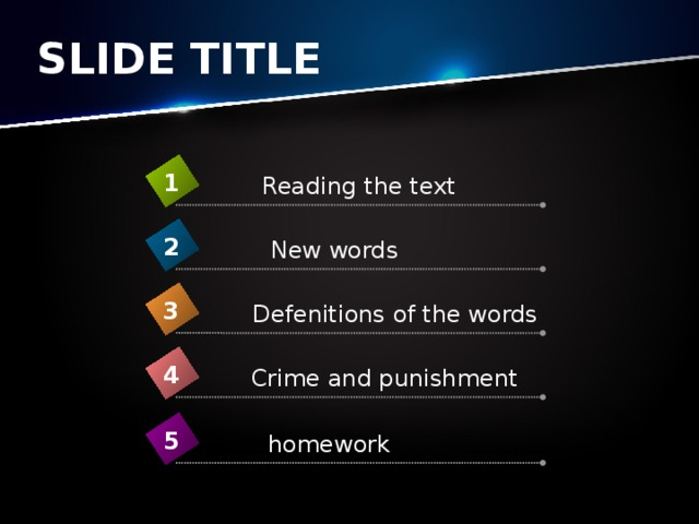 SLIDE TITLE 1 Reading the text 2 New words 3 Defenitions of the words 4 Crime and punishment 5 homework