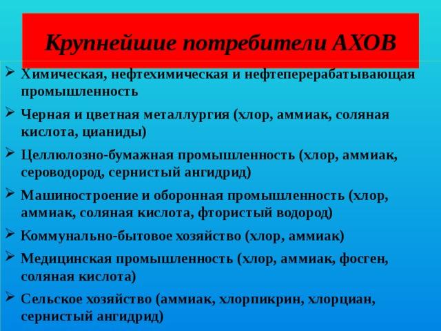 Крупнейшие потребители АХОВ Химическая, нефтехимическая и нефтеперерабатывающая промышленность Черная и цветная металлургия (хлор, аммиак, соляная кислота, цианиды) Целлюлозно-бумажная промышленность (хлор, аммиак, сероводород, сернистый ангидрид) Машиностроение и оборонная промышленность (хлор, аммиак, соляная кислота, фтористый водород) Коммунально-бытовое хозяйство (хлор, аммиак) Медицинская промышленность (хлор, аммиак, фосген, соляная кислота) Сельское хозяйство (аммиак, хлорпикрин, хлорциан, сернистый ангидрид)