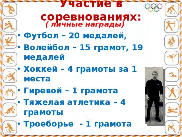 Участие в соревнованиях:  ( личные награды) Футбол – 20 медалей, Волейбол – 15 грамот, 19 медалей Хоккей – 4 грамоты за 1 места Гиревой – 1 грамота Тяжелая атлетика – 4 грамоты Троеборье - 1 грамота