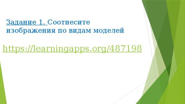 Задание 1. Соотнесите изображения по видам моделей https :// learningapps . org /487198