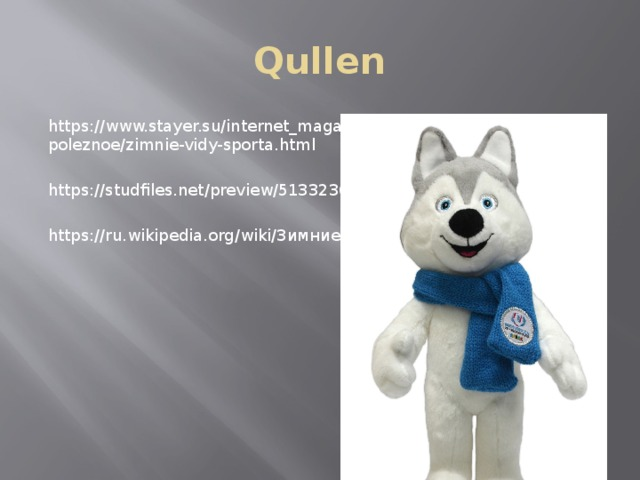 Qullen https://www.stayer.su/internet_magazin/interesnoe-i-poleznoe/zimnie-vidy-sporta.html https://studfiles.net/preview/5133236/ https://ru.wikipedia.org/wiki/Зимние_виды_спорта