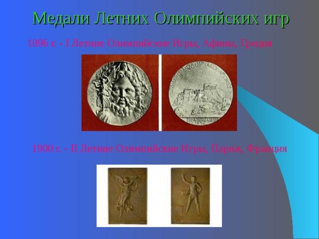 Медали Летних Олимпийских игр 1896 г. - I Летние Олимпийские Игры, Афины, Греция 1900 г. - I I Летние Олимпийские Игры,  Париж, Франция
