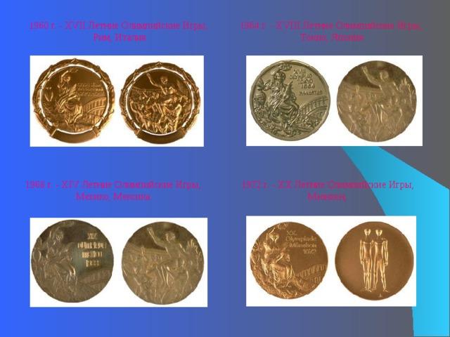 1964 г. - XVIII Летние Олимпийские Игры, Токио, Япония 1960 г. - XVII Летние Олимпийские Игры, Рим, Италия 1968 г. - XIV Летние Олимпийские Игры, Мехико, Мексика  1972 г. - XX Летние Олимпийские Игры, Мюнхен,