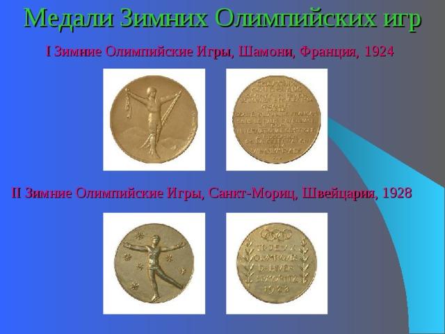 Медали Зимних Олимпийских игр I Зимние Олимпийские Игры, Шамони, Франция,  1924 II Зимние Олимпийские Игры, Санкт-Мориц, Швейцария, 1928