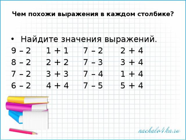 Чем похожи выражения в каждом столбике?    Найдите значения выражений. 9 – 2   1 + 1   7 – 2   2 + 4 8 – 2   2 + 2   7 – 3   3 + 4 7 – 2   3 + 3   7 – 4   1 + 4 6 – 2   4 + 4   7 – 5   5 + 4