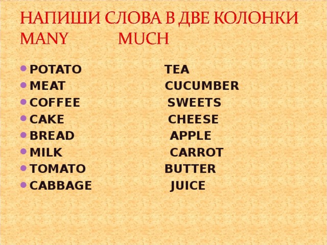 POTATO TEA MEAT CUCUMBER COFFEE SWEETS CAKE CHEESE BREAD APPLE MILK CARROT TOMATO BUTTER CABBAGE JUICE