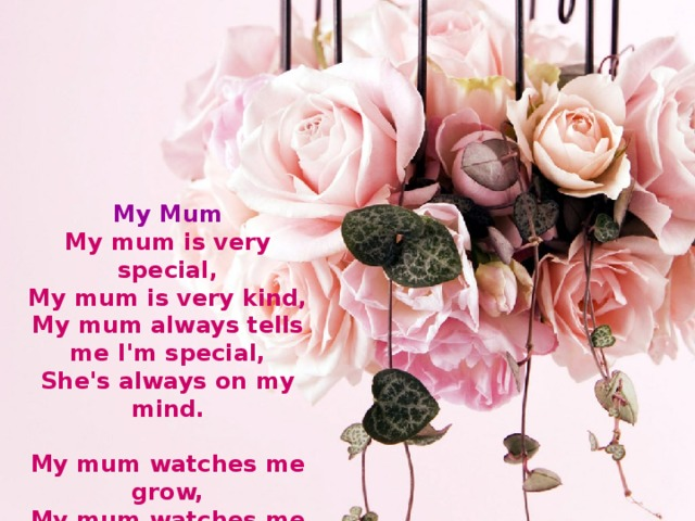 My Mum  My mum is very special,  My mum is very kind,  My mum always tells me I'm special,  She's always on my mind.   My mum watches me grow,  My mum watches me cry,  Of course she'll always know,  She'll never have to tell me goodbye.