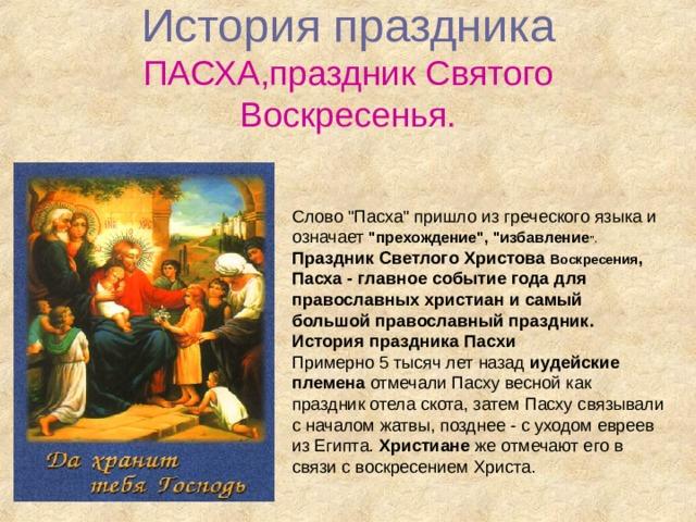 История  праздника  ПАСХА,праздник Святого Воскресенья. Слово