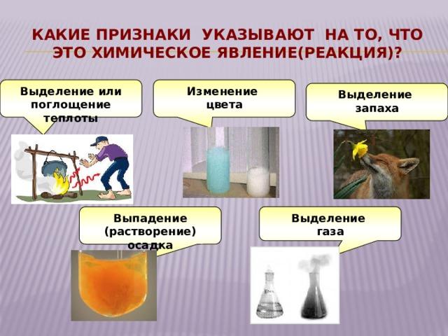 Какие признаки указывают на то, что это химическое явление(реакция)? Выделение или поглощение теплоты Изменение цвета Выделение запаха Выпадение (растворение) осадка Выделение газа