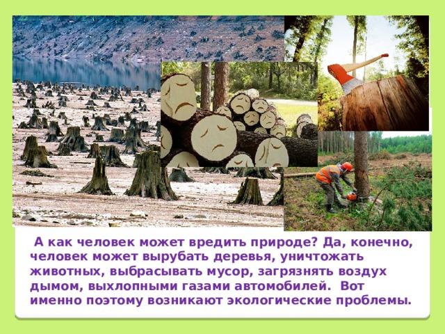 А как человек может вредить природе? Да, конечно, человек может вырубать деревья, уничтожать животных, выбрасывать мусор, загрязнять воздух дымом, выхлопными газами автомобилей. Вот именно поэтому возникают экологические проблемы.