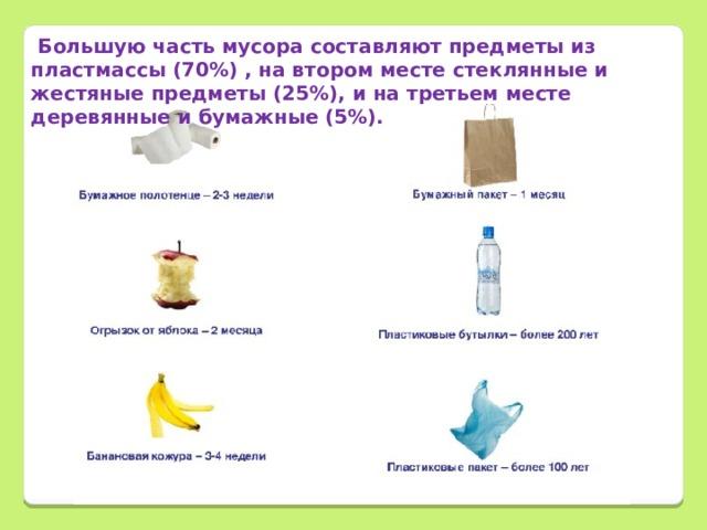 Большую часть мусора составляют предметы из пластмассы (70%) , на втором месте стеклянные и жестяные предметы (25%), и на третьем месте деревянные и бумажные (5%).