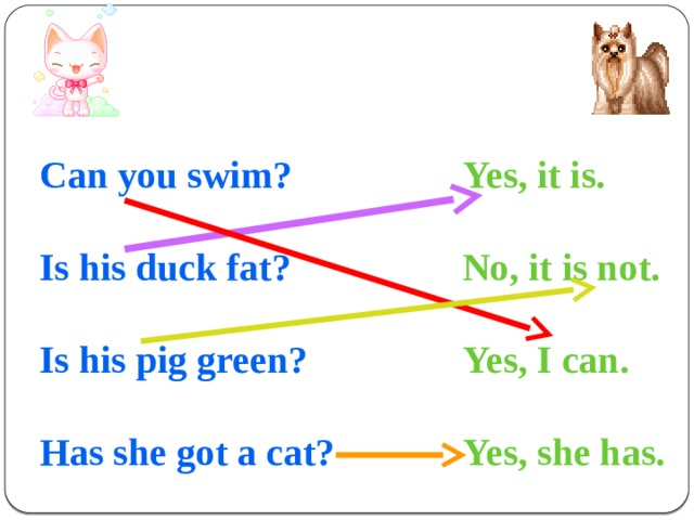 Can you swim? Yes, it is.   Is his duck fat? No, it is not.   Yes, I can. Is his pig green?   Has she got a cat? Yes, she has.