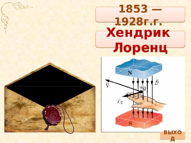 1853 — 1928г.г. Хендрик Лоренц ВЫХОД