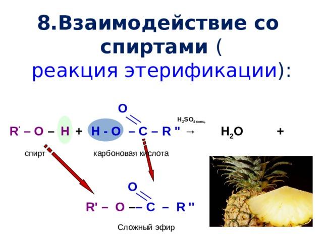 8.Взаимодействие со спиртами ( реакция этерификации ):       O R ' – O – + – C – R ''  →  Н 2 SO 4 конц. Н - О Н H + Н 2 О H - O карбоновая кислота спирт  О R' –  O – – C  –  R ''  Сложный эфир
