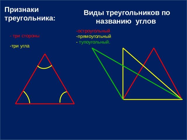 Признаки треугольника:  Виды треугольников по названию углов -остроугольный  -прямоугольный -  тупоугольный. - три стороны -три угла