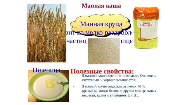Манная каша  Манная крупа  состоит из мелко раздробленных частиц зерна пшеницы. Пшеница Полезные свойства: - В манной каше почти нет клетчатки. Она очень питательна и хорошо усваивается. - В манной крупе содержится около 70 % крахмала, много белков и других минеральных веществ, калия и витаминов Е и В1.