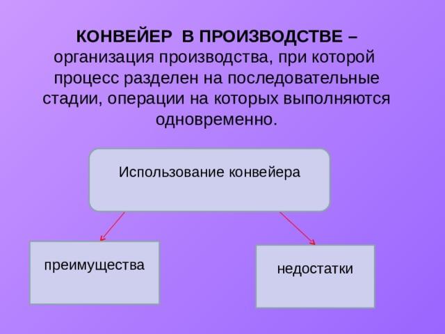 КОНВЕЙЕР В ПРОИЗВОДСТВЕ – организация производства, при которой процесс разделен на последовательные стадии, операции на которых выполняются одновременно. Использование конвейера преимущества недостатки