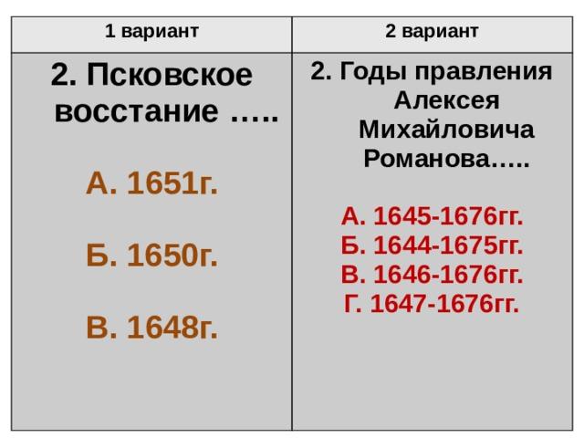1 вариант 2 вариант 2. Псковское восстание …..  2. Годы правления Алексея Михайловича Романова…..  А. 1651г.  А. 1645-1676гг. Б. 1650г. Б. 1644-1675гг.  В. 1646-1676гг. В. 1648г. Г. 1647-1676гг.